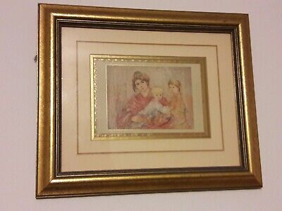 Rare Edna Hibel Print Mother and Two Children Professionally Matted and Framed
