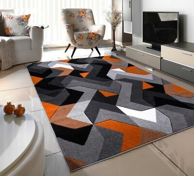 New Orange Silver Thick Hand Carved Soft Heavy Large Area Floor Rug Runner Mats