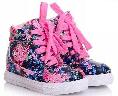 Floral Girls shoes high HI TOP ankle trainers size 9UK Infant KIDS Flowers
