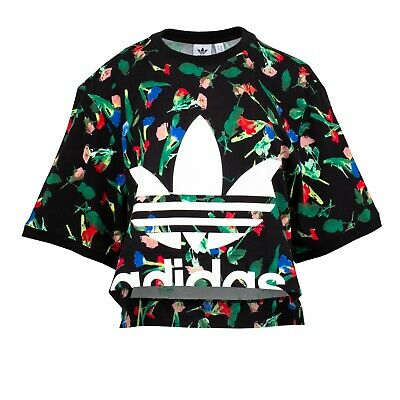 Adidas Originals Women's Allover Print Tee Black/Multi Color EC1876 d Size L