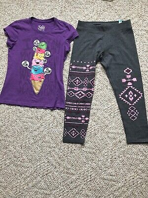 JUSTICE GIRLS SHIRTS And Justice LEGGINGS SIZE 10 EUC