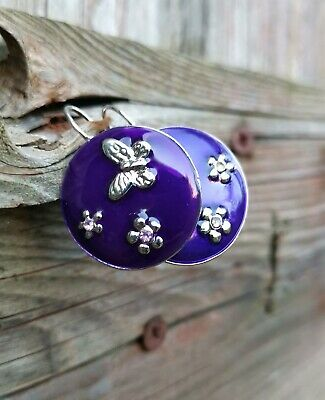 Round Enamel Earrings Butterfly Floral Design Silver and Purple Colour Circular