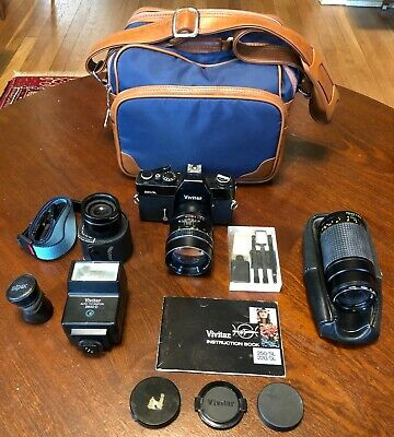 Vivitar 220/SL 35MM Film SLR Camera w/ Lenses, Flash, Strap, Bag & More UNTESTED