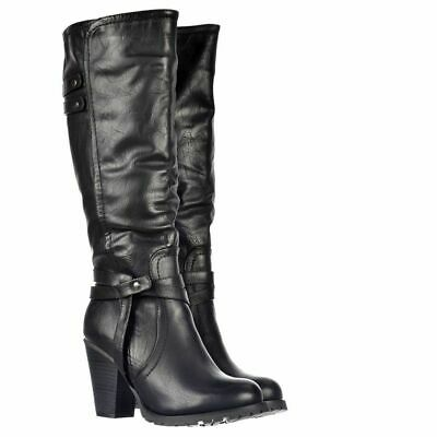 Ladies Womens Block Heel Grip Sole Knee High Zip Riding Style Boots Shoes Size