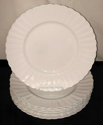 "9 English Bone China * SUSIE COOPER*FLUTE WHITE* 10 1/2"" DINNER PLATES*"