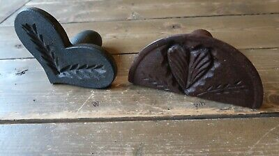 Two Wood Antique Butter Mold Stamps