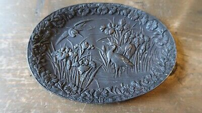 Antique Crane Landscape Soap Dish / Ring Tray 4.25""