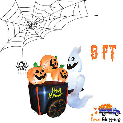6ft Halloween Ghost Pushing Pumpkin Cart Blow Up Inflatable Lawn Decoration