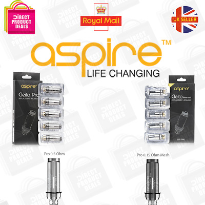 ASPIRE CLEITO COILS 0.4 | 0.27 | 0.2 ohm Replacement Heads, EXO, Box 5 UK Seller