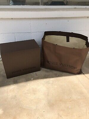 """Louis Vuitton Large Brown Box + Care Bag - 10 1/4"""" by 17"""" by 14""""tall- Excellent!"""