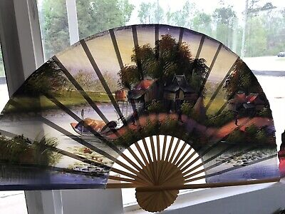 """TWO VTG Extra Large Oriental Asian Folding Fans Hand Painted 60""""+ Wall Decor"""