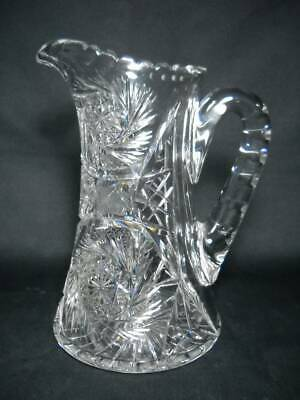 "ABP American Brilliant Period Antique Cut Glass Crystal 10 1/4"" Water Pitcher"