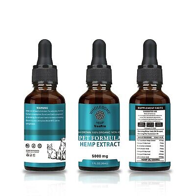 Hemp oil for dogs and cats 5000mg helps with Anxiety Joint pain stress appetite