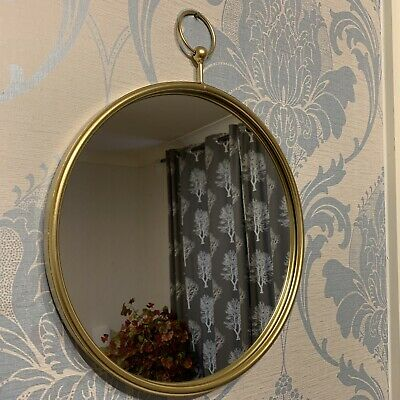 50cm LARGE METAL FRAME GOLD ROUND WALL MIRROR BED BATH ROOM GOLD ROUND MIRROR