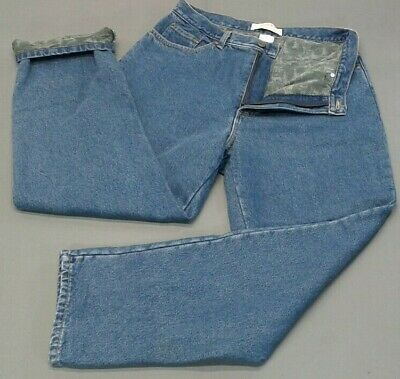 L.L. BEAN WOMEN'S Flannel Lined Jeans Size 14 Double Relaxed
