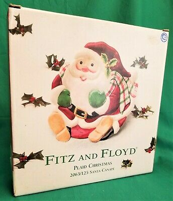 Fitz And Floyd Plaid Christmas Santa Ceramic Canape Plate ~ New in Box