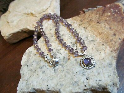 Sterling silver 925 Faceted Spacers Genuine Amethyst Bead Beaded Necklace Small