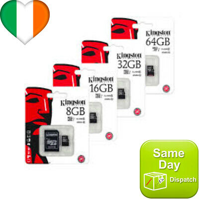 KINGSTON Micro SD SDHC SD Memory Card Class 10 45MB/s 8 16 32 64 GB With Adapter