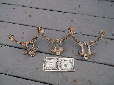 Antique Hooks From Hall Tree,100 Years Old, (3) Hooks, Large. 4 Hooks On Each.,