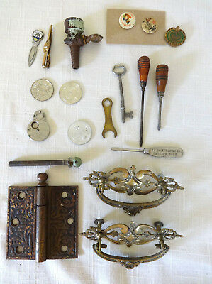 Antique Hardware Lot: Brass Handles, Hinge Petcock, Ford Screwdriver, Tools Pins