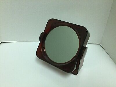 Vintage Double Sided Clear Brown Plastic Magnifying Vanity Makeup Mirror