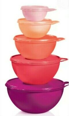 Tupperware Thatsa Bowl Set! 1 Set of 5 bowls in Pink, Purples and Corals