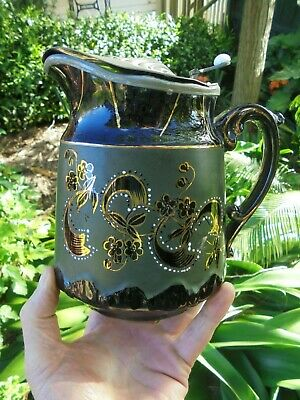 ANTIQUE ENGLISH STAFFORDSHIRE JACKFIELD WARE HOT MILK JUG Rd No. FOR 1893