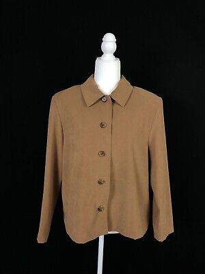 Briggs New York Brown Long Sleeve Button Down Top Women's Petite Size Large