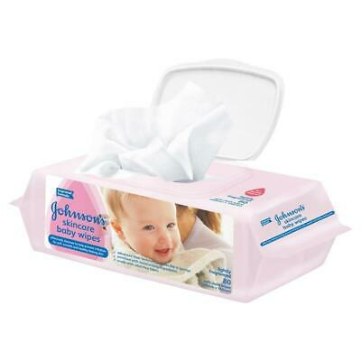Johnson's Baby Wipes Skincare Lightly Scented 80 Pack Enriched Moisturisers