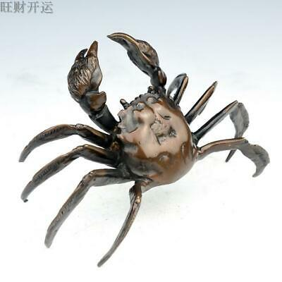 Chinese Seiko Carved Exquisite Pure copper Luck Wealth Crab Statue
