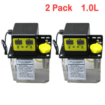 2 Pack 220V 1L Dual Digital Display Automatic Electric Lubrication Oiler NC Pump