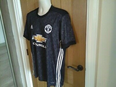 MENS ADIDAS CLIMACOOL MANCHESTER UNITED THIRD SHIRT IN BLACK SIZE LARGE + gift..