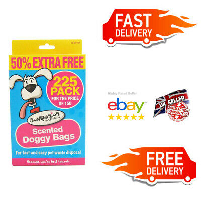 225 x Black Biodegradable Poo Bags, Tie Handle Doggy Scented - 50% Extra FREE UK