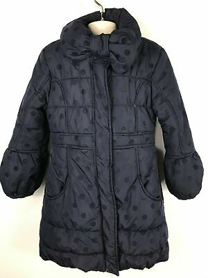 Girls Blue Zoo Navy Blue Spotty Padded Winter Coat Jacket Zip Up No Hood 6-7 Yrs
