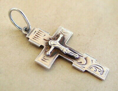 Silver Cross Russian Sterling Old, Jesus Christ, Orthodox, Russia, Patina