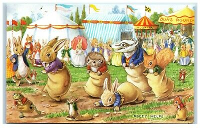 Postcard Print The Sack Race by Racey Helps
