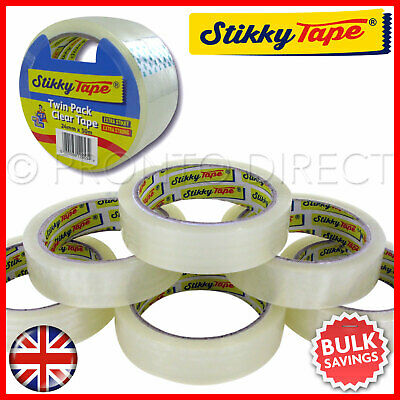 12x ROLLS CLEAR PACKING STICKY TAPE CELLOTAPE SELLOTAPE ADHESIVE GIFT WRAPPING