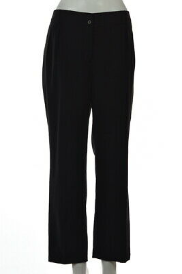 NEW Talbots Womens Pants Size 14 Black Solid Cropped Slacks Dress Trousers Wool