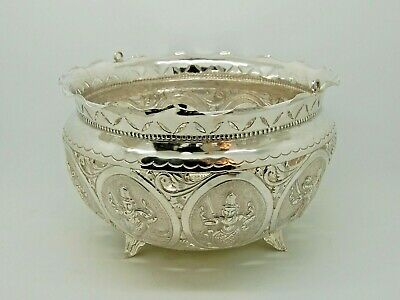 Antique Indian Silver Bowl Pierced Work India 1890s – QUALITY LARGE