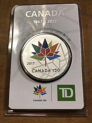 Canada 150, 2017, 1oz TD Silver Round - Original Packaging