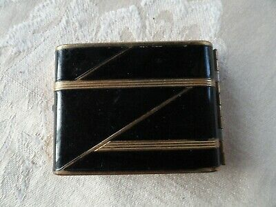 Vintage Art Deco By Vanstyle Black And Gold Compact Make Up Blush Holder Mirror