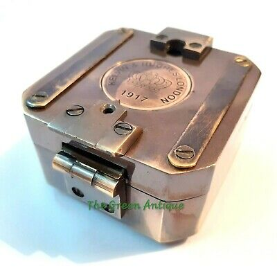 Antique Style Brass Brunton Compass Square Maritime Collectible
