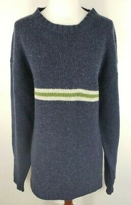 Boden Mens XL 100 Lambswool Blue Green Cream Stripe Long Sleeve Pullover Sweater