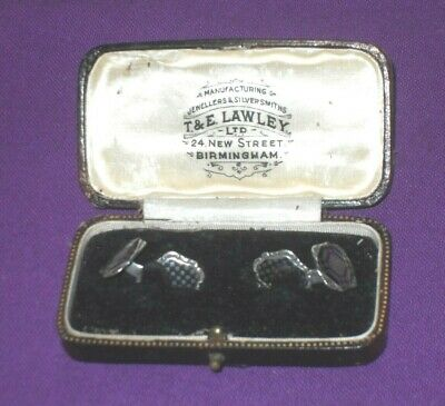 ART DECO 1930s GERMAN 800 SOLID SILVER CUFFLINKS IN ANTIQUE LEATHER BOX VINTAGE