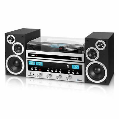 Bluetooth 3-Speed Turntable Classic Shelf Stereo System CD Player FM AUX Remote