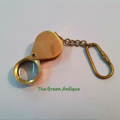 Antique Brass Keychain Magnifier Maritime Collectible Gift