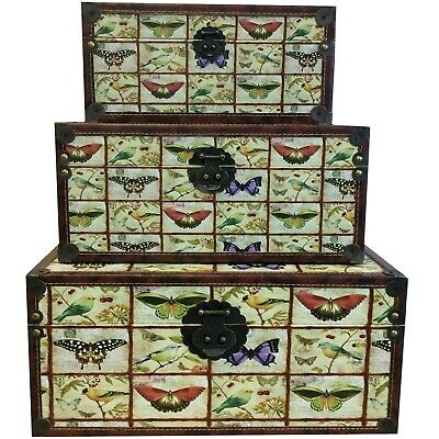 Set of Three Wooden Butterflies Storage Chests NIFS0128