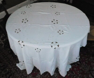 Antique Vintage Madeira Hand Embroidered Linen Tablecloth cut work art hand made