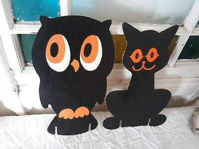 VINTAGE CAT & OWL BRACHS CANDY HALLOWEEN STORE DISPLAY PEICES ADVERTISING Diecut