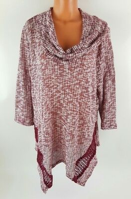 Plus Size Sweater 3X Knit Red White Shawl Cowl Neck Boho Crochet Accent Purple